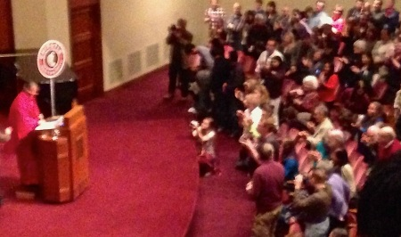 The Kansas City audience of about 1,200 people gave Dr. Shiva a standing ovation.